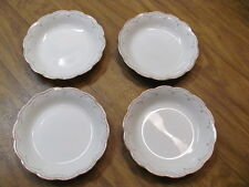 WH Grindley England China Set of 4 White Bowls w/ Gold Trim Crazing no chips