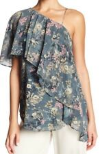 NWT Size S Haute Hippie One Shoulder Short Sleeve Floral Print blouse Top