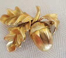 Vintage Heavy 14K Solid Yellow Gold Acorn Leaf Brooch Pin 10.8 Grams Grosse 1960