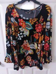 ATTITUDES By Renee Plus Sz 2X 3/4 Sleeve Pullover Tunic ~ Ruffle Sleeve ~