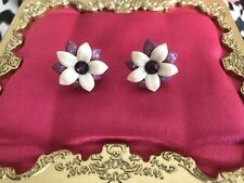 Tarina Tarantino Vintage Ivory White Purple Flower Swarovski Stud Earrings RARE