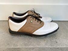 FootJoy FJ Superlites Men's 11 Golf Shoes 58004 White Brown Saddle Oxfords Soft