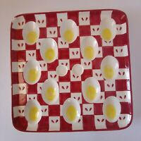 Deviled Egg Tray Square Porcelain Plate Square Yellow Red and White Holds 12