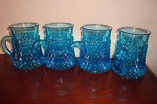 Vintage Turquoise Blue Set Of 4 Coffee Mugs Dimond cut