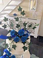 WEDDING CAKE  SUGAR FLOWER DECORATION  ROSE TOPPER ROYAL BLUE More Colours 2 D