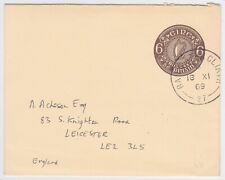 1969 EIRE 6p POSTAL STATIONERY ENV->LEICESTER GB
