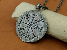 925 Sterling Silver Vegvisir Viking Compass Norse Pagan  Odin  Pendant Necklace