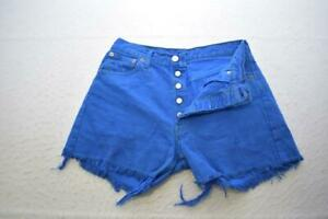 Levis 501 Frayed Jean Shorts Stretch Denim Blue Womens Size 30