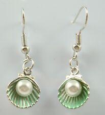 925 Silver Plated Hook -1.4 Pearl Shell Simple Drop Elegant Women Earring green