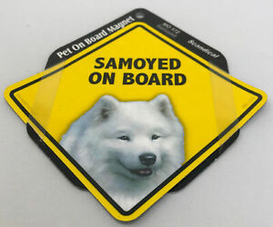 Samoyed Dog On Board Magnet Laminated Car Pet Magnet NEW 6x6
