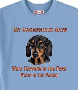 Dachshund Dog T Shirt - My Dachshund Says In The Park ------- USA Free Shipping