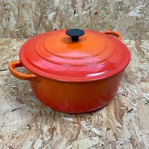 Vintage Volcanic Orange Le Creuset Cast Iron Casserole Dish Size E