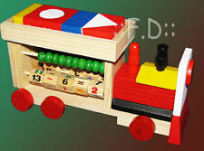 Wooden train mathematics 123 Number Educational Learning Building Blocks Abacus