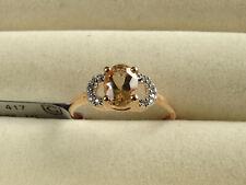 Rare Mutala Peach Morganite & White Zircon 10K Rose Gold Ring Size P-Q/8
