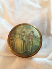 VINTAGE LOVELY CHIC TRINKET BOX  PAINTED GOLD WITH A CARVED DESIGN ON THE LID