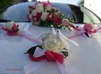Set, Brautstrauss und Autoschmuck rosa/pink, Hochzeit. Braut, zum Brautkleid