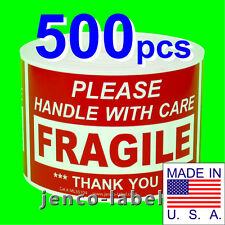 ML35104, 500 3x5 Handle With Care Fragile Labels/Sticker
