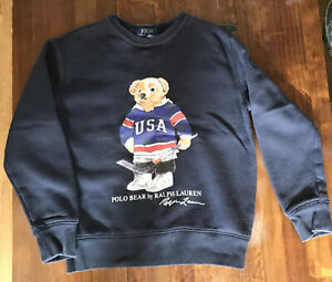Boys Navy Blue Ralph Lauren Sweatshirt With Teddy Motif. Aged 8 Years.