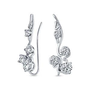 Trendy Vine Swirl Wire Ear Pin Climbers Earrings For Women For Teen AAA CZ