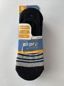 All Pro By Goldtoe Womens Liner Socks Ultraite Sport 6 Pair Size 4-10 Black Gray
