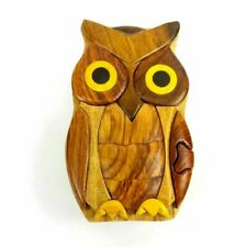Animal World Hand Carved in Vietnam Wooden Puzzle Box- Intarsia Wood Art - Owl