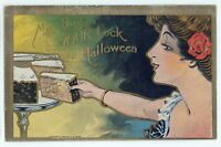 Lady with Cake, May This Be Your Luck on HALLOWEEN Vintage Postcard