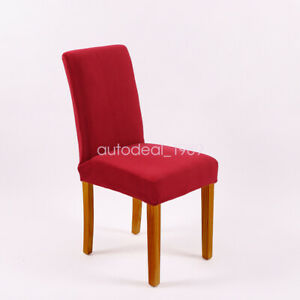 4pcs Velvet Dining Chair Cover Stretch Seat Dustproof Slipcover for Dining Room
