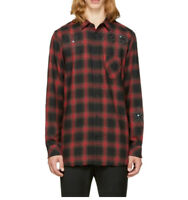 $228 Diesel Men's Prof Shirt Long Sleeves Red Black Check Size XL