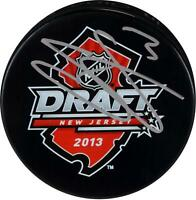 Seth Jones Columbus Blue Jackets Autographed 2013 NHL Draft Logo Hockey Puck