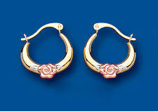 Hoop Earrings Gold Creole Rose White Yellow Multi Tone Gold Rose Design