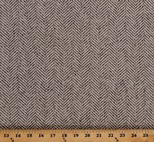 Wool Taupe and Ecru/Cream Tweed Chevron Stripe Wool Coating Fabric BTY A611.15