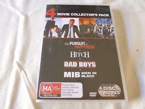 The Pursuit of Happyness, Hitch, Bad Boys & Men in Black (4x DVD, 2008) Region 4