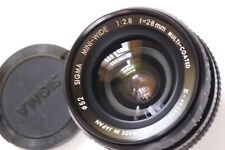 OLYMPUS OM FIT SIGMA 28mm F/2.8 MINIWIDE ll LENS ,WITH DEDICATED HOOD AND CASE