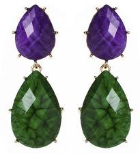 NWT Amrita Singh Real Housewives Hampton Purple Evergreen Resin Earrings ERC 834