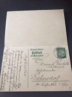 Königreich Bayern POSTKARTE mit Antwort gelaufen um 1910 selten angeboten 7 Pf