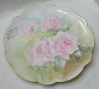 Antique Large Hand Painted Plate Abstract Pink Roses Scallop gold rim Signed