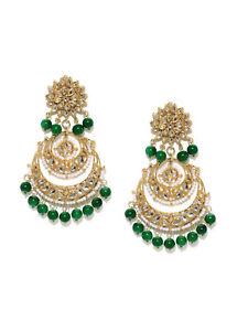 Indian Fashion Green Pearl Kundan Earring Set Bollywood Wedding Jewelry
