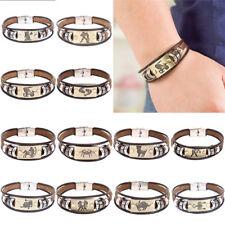 Stainless Steel Clasp Leather Bracelets 12 Zodiac Signs Bracelets Mens Jewelry ^