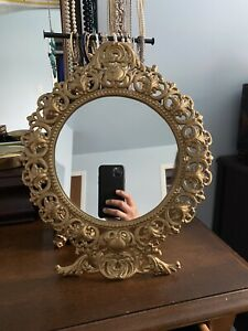 Vintage Cast Iron Ornate Victorian Design Easel Back Vanity Mirror