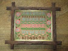 1800's Antique Sampler original Adirondack style walnut frame Ladies Camp DÉCor