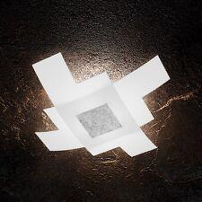 Plafoniera in vetro bianca e foglia argento moderna a 4 luci tpl 1121/75-FA
