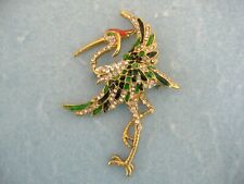 Pin With Enamel And Clear Crystals Gold Toned Crane Bird Brooch Or