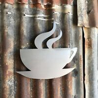 Steel Coffee Tea CUP Lettering Letters Sign Metal Shop Home bar Pub Cafe Bistro