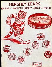 1964/1965 AHL Hockey Program Rochester Americans at Hershey Bears