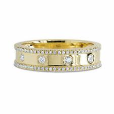 14K Yellow Gold Bezel Diamond Wedding Ring Band Womens Round Cut Size 7 Natural