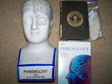 Phrenology Bust & Book Antique and Dvd bundle Scientific Psychology 12""