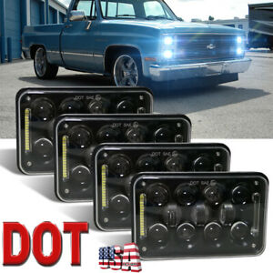 "DOT Approved 4pcs 4×6"" LED Truck Hi/Lo Headlights DRL For Chevy Pickup 1981-1987"