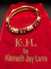 KJL Red Enamel Rhinestone Pearl Hinged Bangle Bracelet