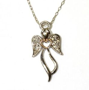 """925 Sterling Silver .042ct SI2 H diamond Angel pendant necklace 2g womens 18"""""""