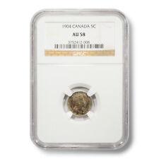 1904 Canada George V 5¢ AU-58 NGC Encapsulated Silver Coin